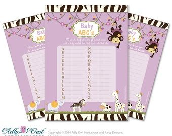 Girl Cocalo Jacana Baby ABC's Game, guess Animals Printable Card for Baby Cocalo Jacana  Shower DIY Purple Jungle  - ao22bs15