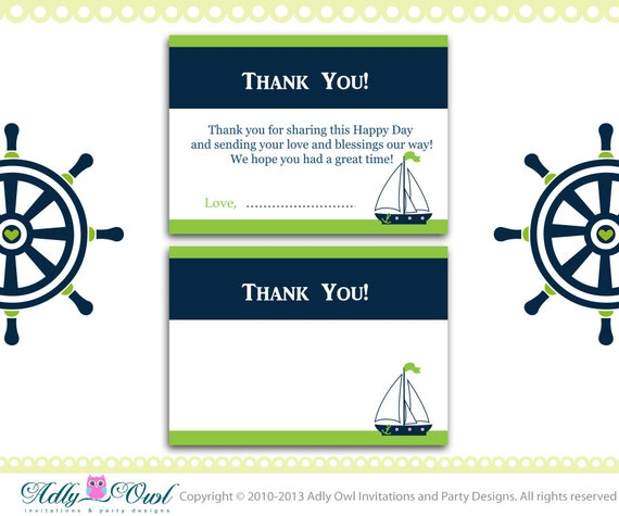 items similar to nautical baby shower thank you cards in navy, Baby shower invitations