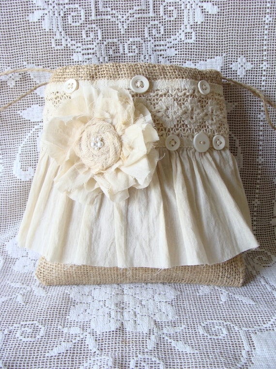 Burlap and Lace Dollar Dance Bag Burlap Wedding Bag Brides Purse Flower Girl Bag Handmade Fabric Flower Ruffle Market Tote