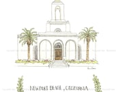 Newport Beach, CA Temple -  Archival Print by Laura Davies