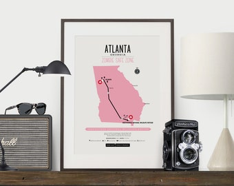 Zombie Safe Zone Atlanta Map Poster - Atlanta City Map