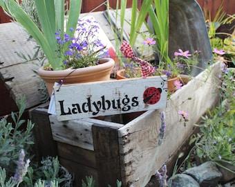 Ladybugs Wood Garden Sign