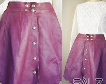 Tulip leather skirt, wine red leather skirt, buttoned leather skirt, purple leather skirt, burgundy skirt