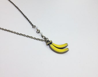 Yellow Banana Antique Bronze Necklace, Fun Funky Quirky Unique Necklace, Simple Everyday Necklace Jewelry N73