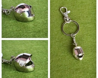 3D Silver Plated Metal Motorcycle Helmet Key Chain Bag Charm KC63