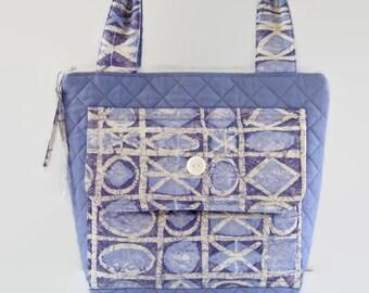 Lavender Purple White Art Deco Quilted Purse, Large Repurposed Fabric Handbag, Women Teen Stylish Shoulder Bag, Zippered Handbag Purse Bag