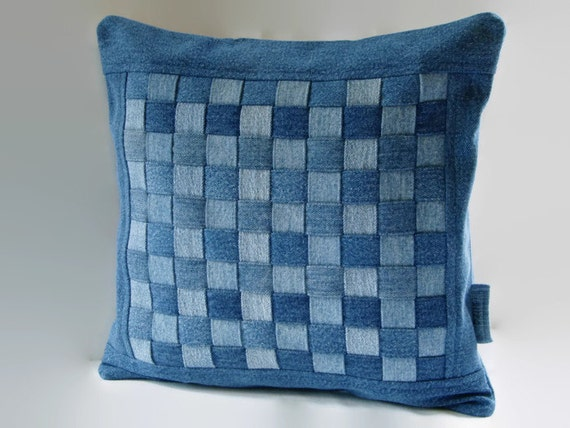Decorative Denim Pillows : Denim Pillow Cover 14 x 14 Decorative Pillow Cover Upcycled