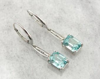 Outstanding Blue Zircon and White Gold, Art Deco Earrings, Drop Earrings F4TA2Q-P