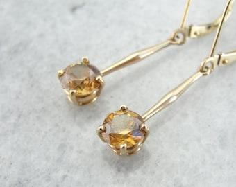 Golden Zircon Gemstones in Antique Drop Earrings, Fine Gold 6TD5AP-N