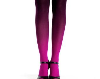 Ombre tights magenta-black