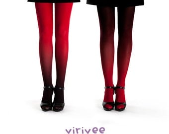 2 ombre tights together, red pantyhose