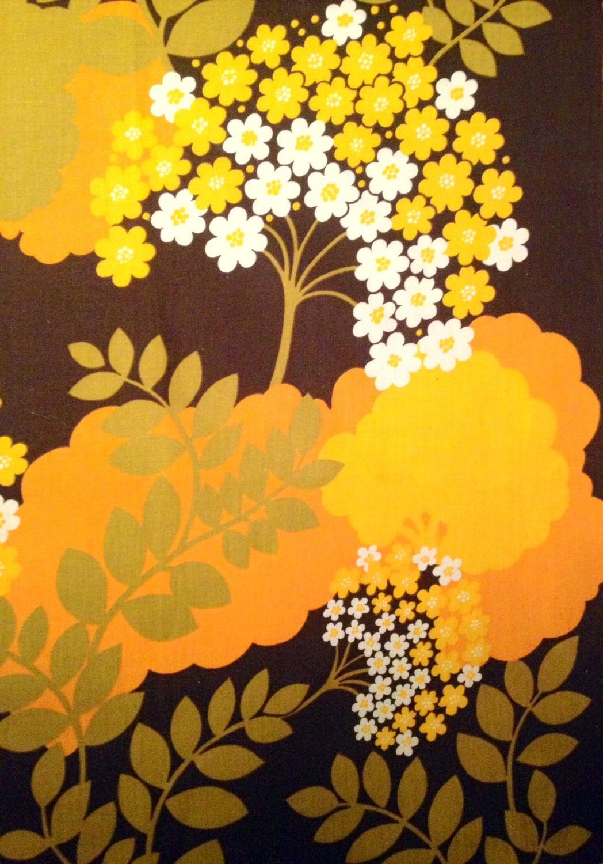 Amazing vintage swedish retro fabric from the 70s orange and for Retro fabric