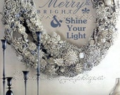 Be Merry & Bright:  A Sparkly Christmas Altered Fine Art Print, Elegant Holiday Decoration for the Cottage Chic Home