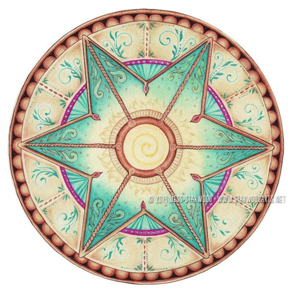 "Items similar to Mandala ""Healing Dawn"" PRINT Colored ..."