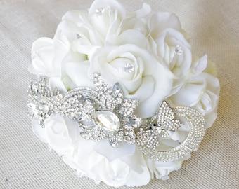 Spectacular Silk Butterfly Flower Brooch Wedding Bouquet - White Roses & Jewel Bride Bouquet - Rhinestones