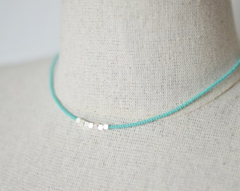 Turquoise nugget necklace,nugget beads necklace,minimalist necklace,teal necklace,delicate necklace,dainty necklace,bridesmaid gift