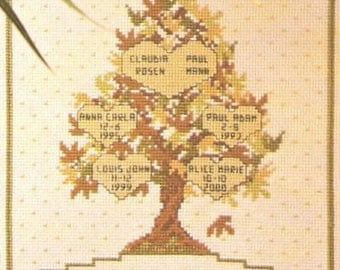 Family Tree Pedigree Genealogy Sampler Custom Cross Stitched with Personalization for you