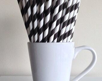 Black Striped Paper Straws Black Black Party Supplies Party Decor Bar Cart Accessories Cake Pop Sticks Mason Jar Straws