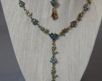 """Vintage Carolee Flower """"Y"""" Drop Rhinestone and Enamel Parure - Necklace, Bracelet, Earrings - Bridal, Crystal, Prom, Wedding, Spring, Summer"""