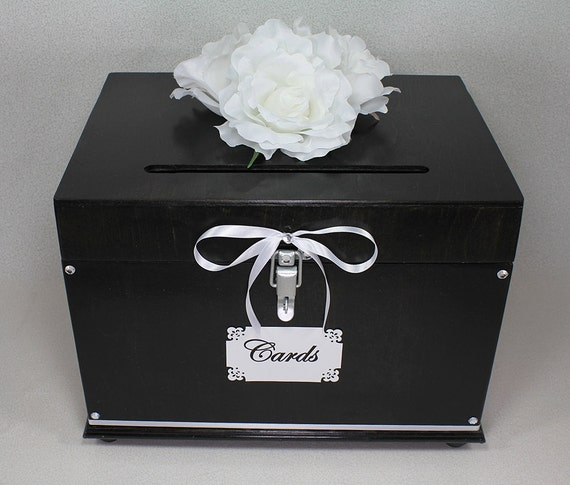 Ebony white wooden wedding card box trunk dark brown for How to decorate a money box