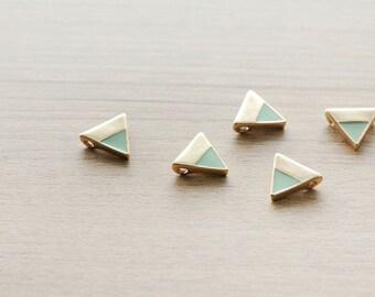 5 pcs of Mint Triangle Enamel 18k Gold Plated Zinc Alloy Pendants - 15 mm