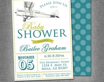 Antique Airplane Baby Shower Invite