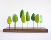 Miniature spring forest in shades of green - tabletop decor - grass green - mint green
