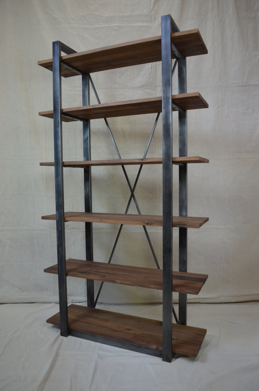 Industrial Rustic Shelving Walnut And Metal Shelf
