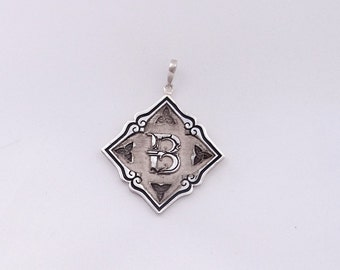 New handmade sterling silver initial necklace, solid silver personalized pendant letter B, Large letter B