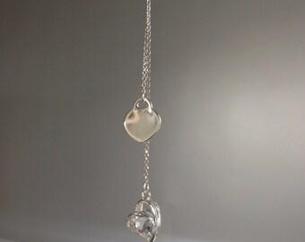 """Tie necklace 925  silver Double """"Hearts"""""""