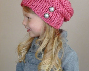 Hand Knit Slouchy Toddler Hat in Bright Pink with Two Antique Silver Lined Pearls, Slouch Beanie Toddler Girls, Knit Slouchy Beehive Hat