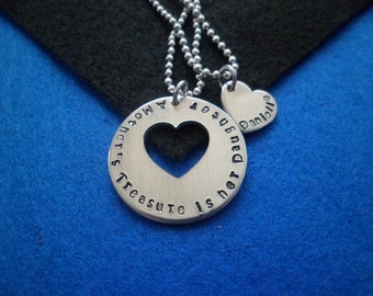 Mother Daughter - A Mother's Treasure is her Daughter - Hand Stamped Pendant