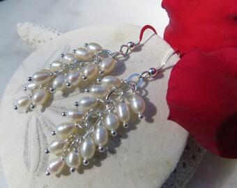June Birthstone Earrings, Freshwater Pearl Earrings, Pearl Cluster Earrings, 30th Wedding Anniversary Earrings, Sterling Silver Earrings