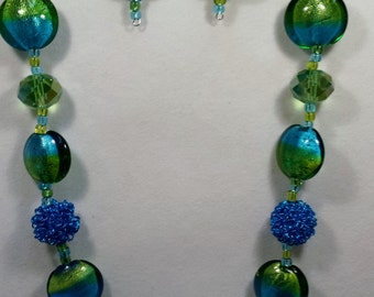 Lime green and light blue beaded necklace & earring set.
