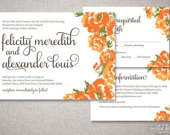 "Floral Garden Chic ""Felicity"" Wedding Invitations Suite - Rustic Calligraphy Script Invite - Custom Digital Printable or Printed Invitation"