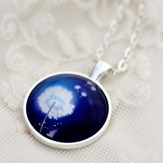 FREE SHIPPING Dandelion on Vibrant Blue. Make a Wish glass necklace.