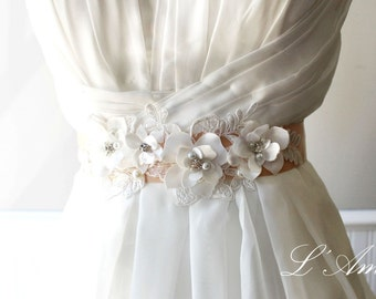 Beautiful Hand made Champagne Flower Wedding Sash Belt with Rhinestones and Faux Pearl Accents