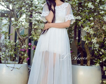 Amazing Hand made 2 Piece Embroidered Lace and Chiffon Boho Wedding Dress-L'Amei