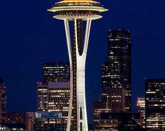 Seattle Skyline Image, Space Needle at night photo