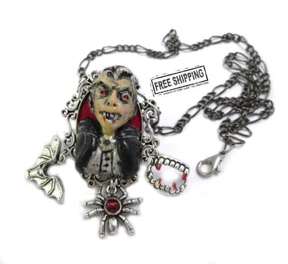 Vampire jewelry dracula necklace lolita gothic victorian - deathrock psychobilly goth choker horror jewelry - vampire wedding gothic jewelry
