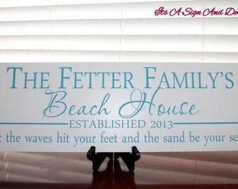 Custom Beach House Sign, Custom Beach Sign, Beach Wedding, Beach Decor in Handmade, Family Name Sign, Personalized Last Name Sign, Est Sign