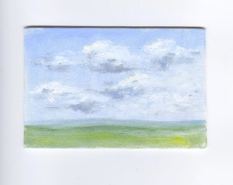 SALE. Small Cloud Oil Painting. Clouds Painting. Landscape Oil Painting. Home decor. Horizon. 4x6 painting. Nature study. Landscape sketch.