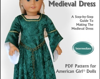 Pixie Faire Read Creations Medieval Dress 18 Inch Doll Clothes Pattern fits American Girl Dolls - PDF Download