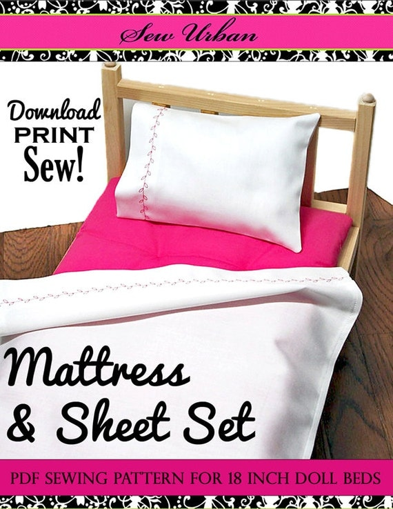 Pixie Faire Sew Urban Mattress and Sheet Set Doll Clothes Pattern for 18 inch American Girl Dolls - PDF