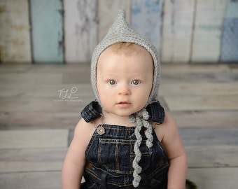 Baby Silver Heather Grey Pixie Hat - 0 to 3 Months, 3 to 6 Months, 6 to 12 Months - Fairy, Pixie, Sprite, Imp