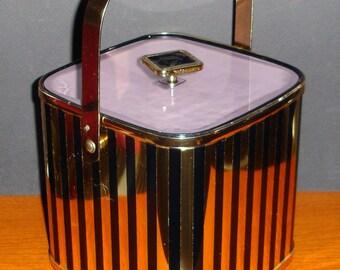 Elegant Culver Ice Bucket Gold & Black Stripe Brass Handle 1960s