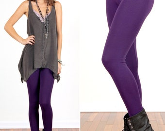 Dark Eggplant Purple Leggings