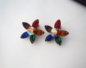 Vintage Rainbow Molded Lucite and AB Flower Earrings
