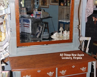 Antique Oak Dresser and Mirror