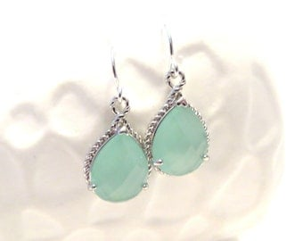 Aqua Mint Earrings Silver Earrings Mint Wedding Jewelry Aquamarine Crystal Sterling Silver Drop Earrings Blue Mint Bridesmaid Earrings Gift